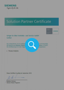 Gröger & Obst Siemens Solution Partner Certificate